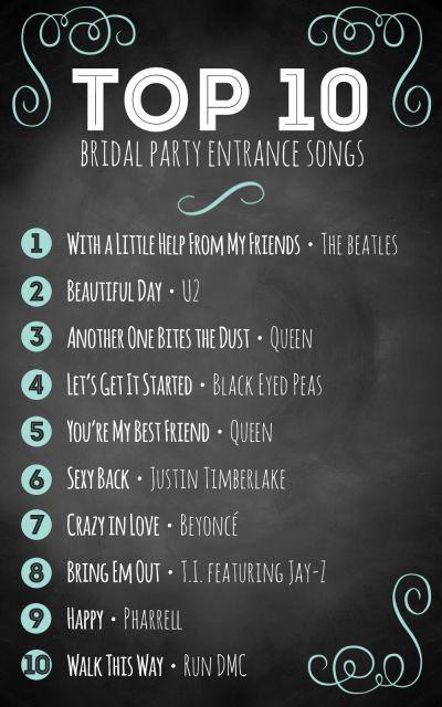 Top 10 bridal party entrance songs   Wedding advice ...