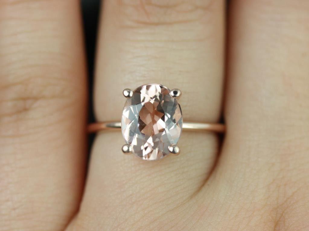 plain gold wedding bands Rosados Box Dani Rose Gold Thin Oval Morganite Classic Plain Engagement Ring