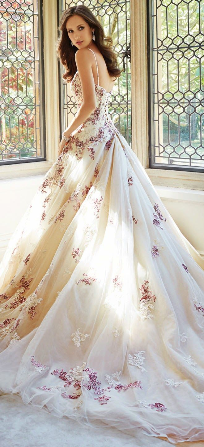 color wedding dresses Love the color Sophia Tolli Fall Bridal Collection wedding dress with thin straps