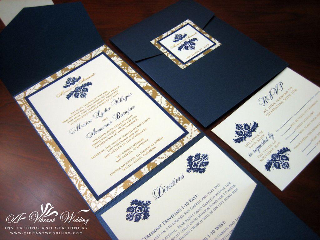gold wedding invitations Navy Blue And Bronze Gold Wedding Invitation Pocketfold Style With Damask Design