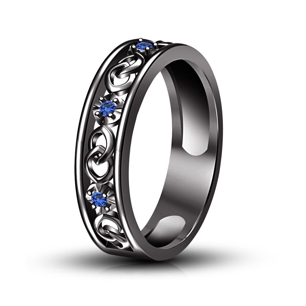 ebay wedding rings sets Wedding Anniversary Band Ring Blue Sapphire Black Gold Finish in Silver