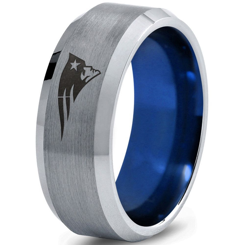 sports wedding bands Copy of 6mm New England Patriots Blue Tungsten Wedding Band Ring