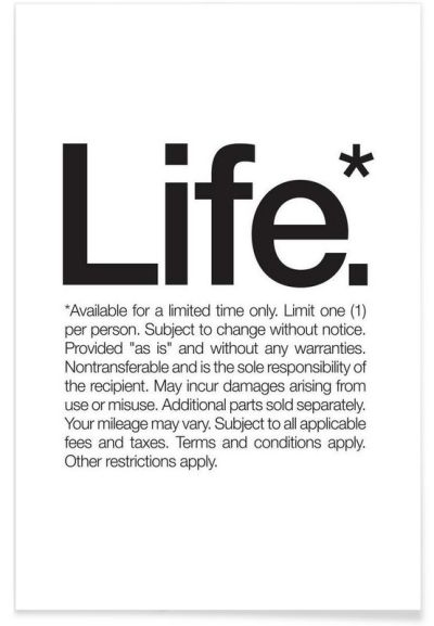 Life* (Black) as Premium Poster by WORDS BRAND™ | JUNIQE # ...