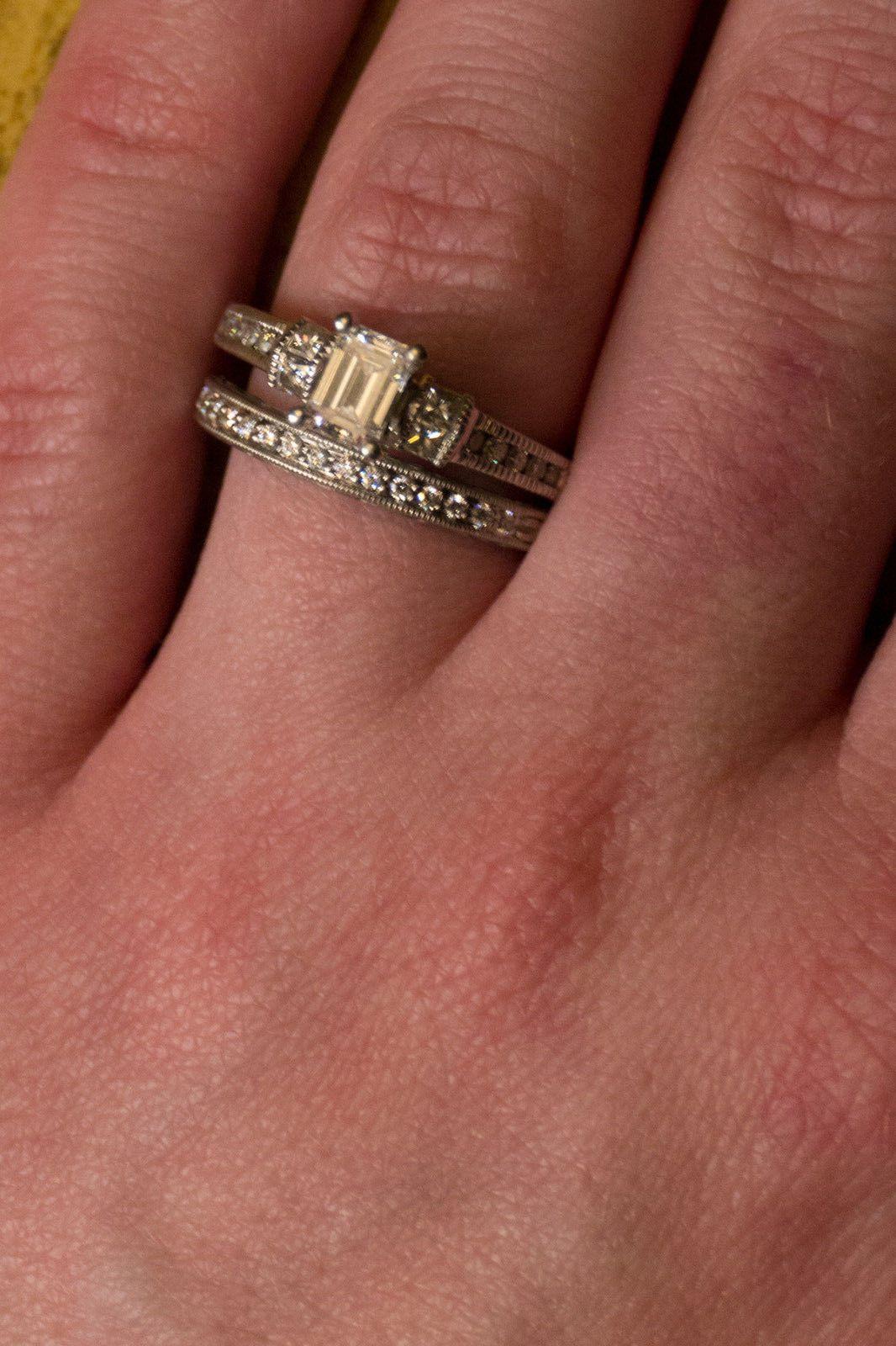 kay wedding rings sets Lot ESTATE 14k White Gold Emerald Cut Diamond Engagement Ring Band Set Scott Kay