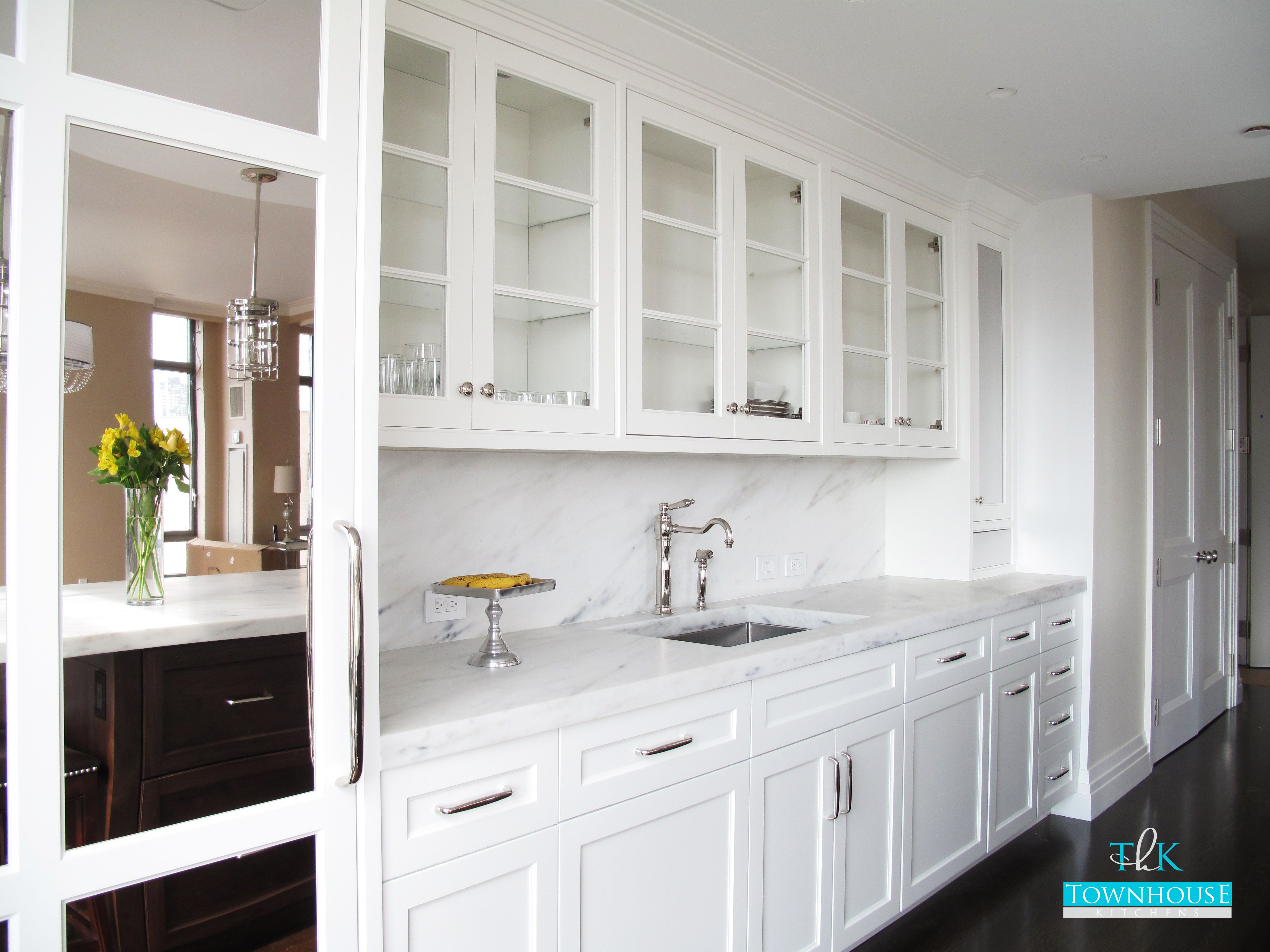 custom kitchen countertops Custom Kitchen Design White high gloss handle less cabinetry with marble countertops and