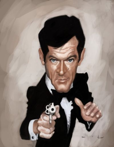 Roger Moore 007 by DevonneAmos.deviantart.com - CARICATURE: http://dunway.com/ | Caricatures ...