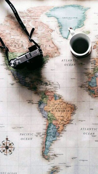 World Map Travel Plans Camera Coffee iPhone 6 Wallpaper | iPhone Wallpapers | Pinterest ...