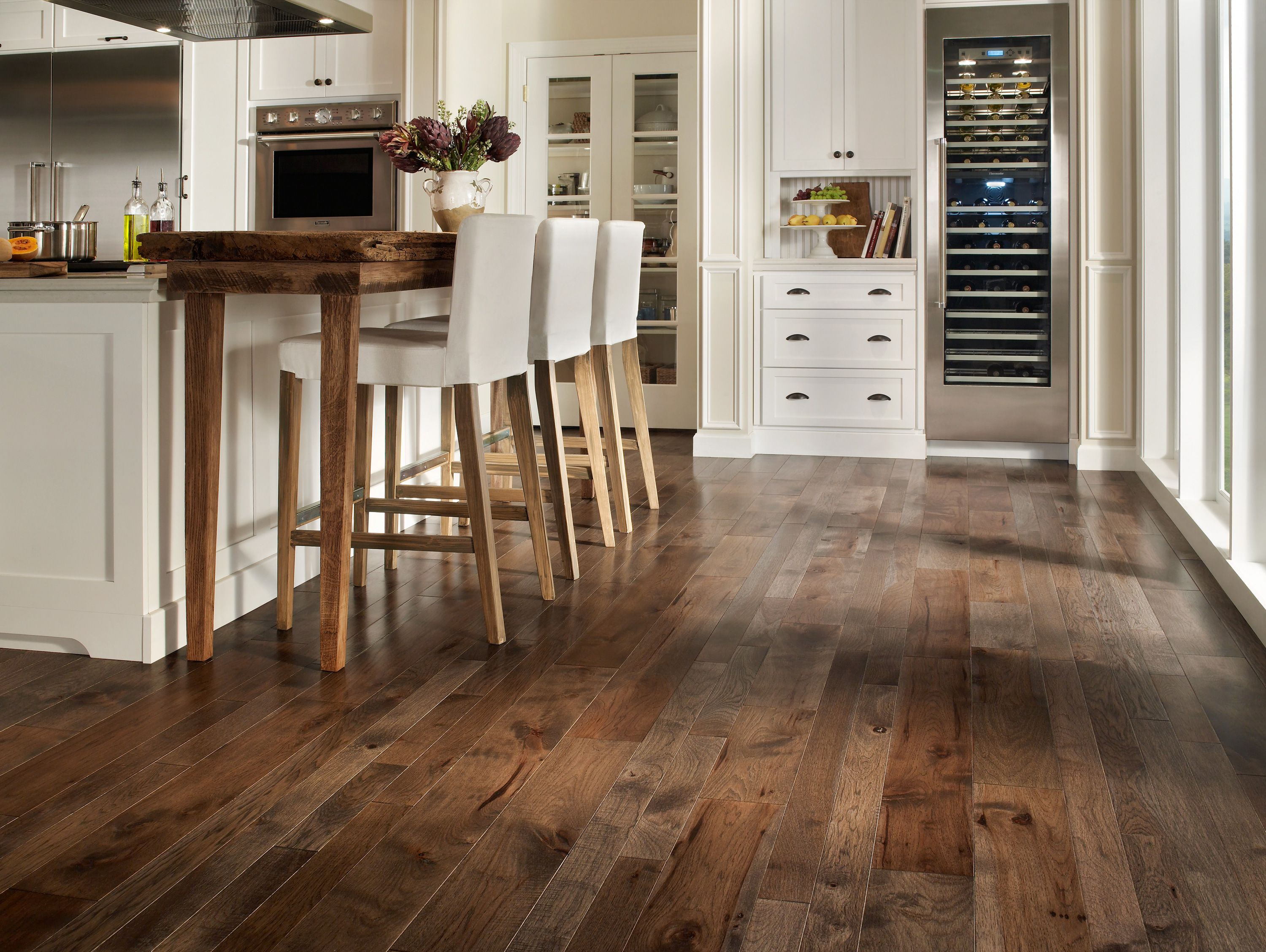 flooring best kitchen flooring Simple kitchen decorating design ideas using rustic solid dark brown wooden floors in kitchen including wooden white leather tall kitchen chair and white