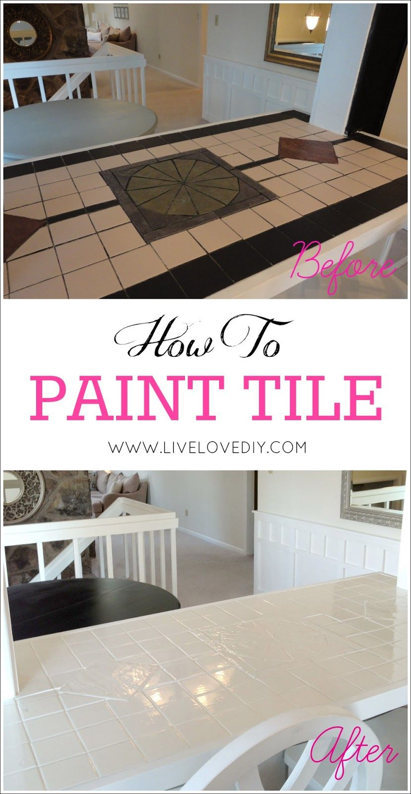 kitchen countertop tile How to paint tile countertops This is SO great for outdated kitchens and bathrooms