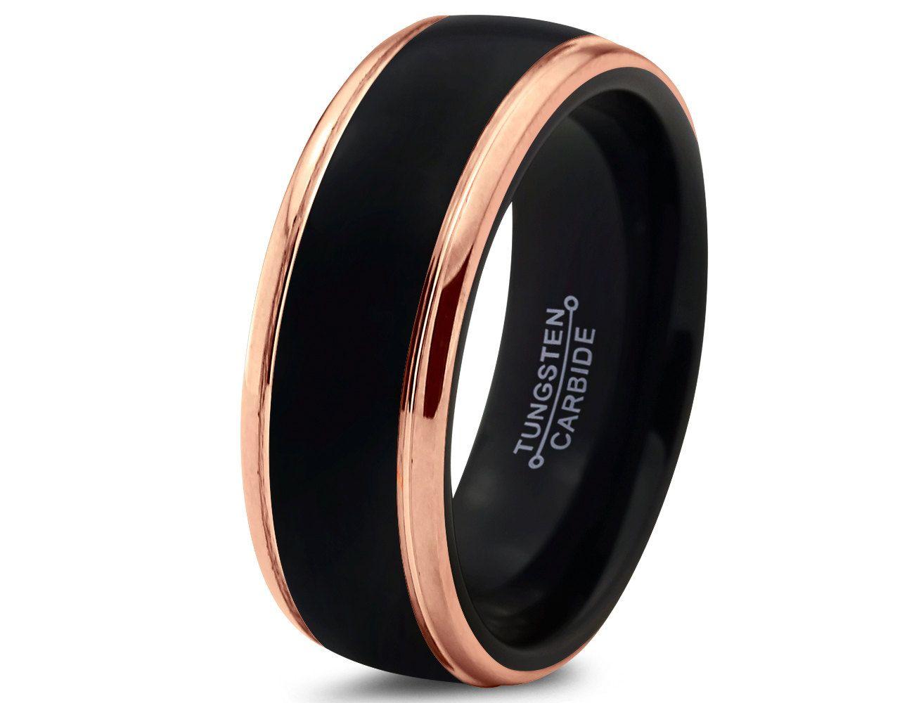 mens black wedding rings Black Tungsten Ring Rose Gold Wedding Band Ring Tungsten Carbide 8mm 18K Tungsten Ring Man Wedding