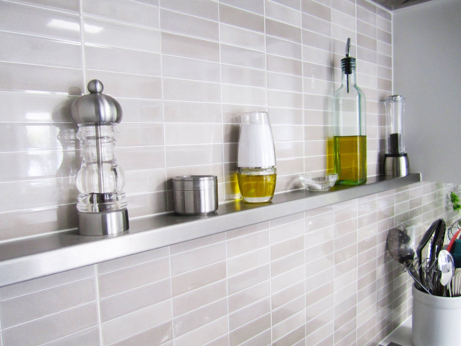 metal kitchen backsplash Stainless Steel Kitchen Shelves on the wall