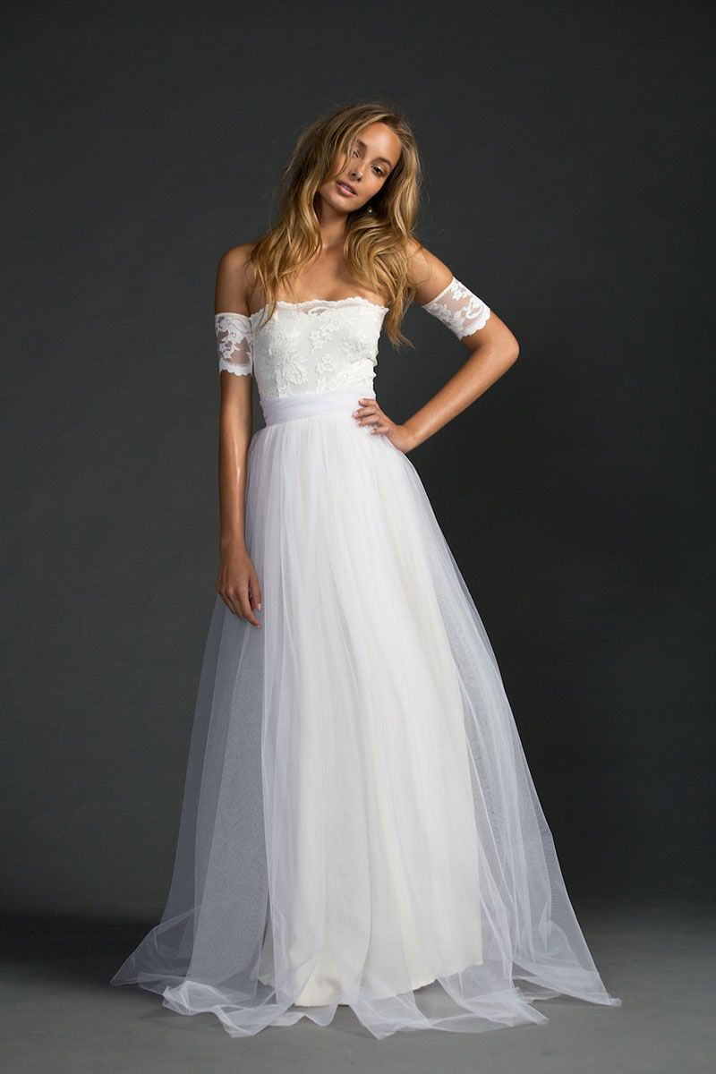 strapless tulle wedding dress Ivory Strapless A Line Lace And Tulle Floor Length Simple Wedding Dress Fashideas com