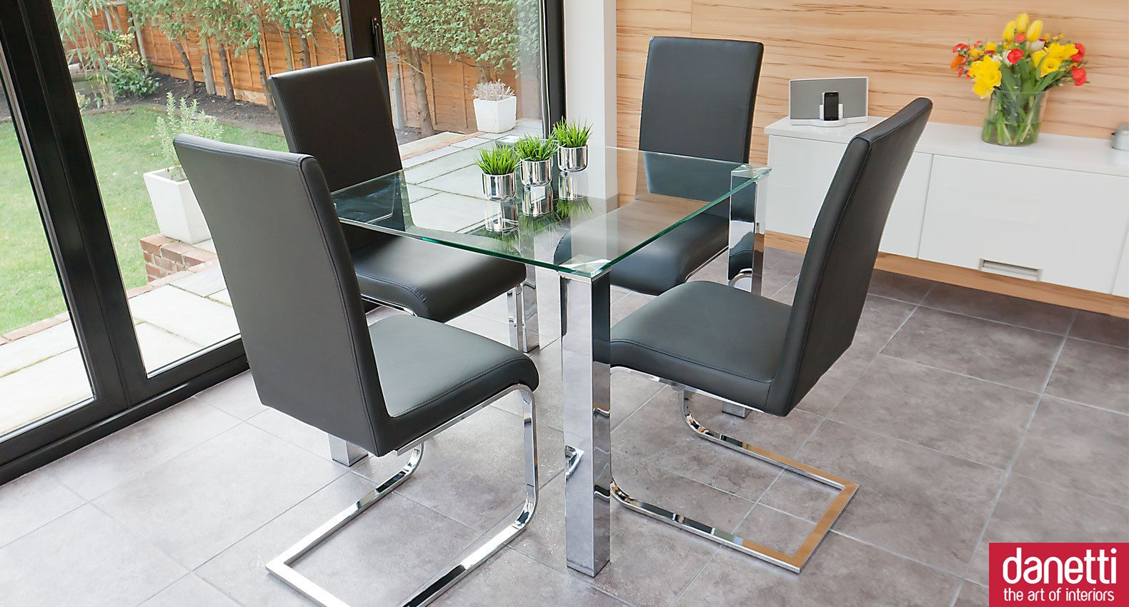 small kitchen table set Modern Glass Dining Set suitable for 2 or 4 people Chunky chrome legs support a