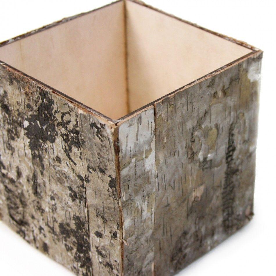 wedding favors wholesale Natural Birch Bark Cube Vases Wholesale Wedding Supplies Discount Wedding Favors