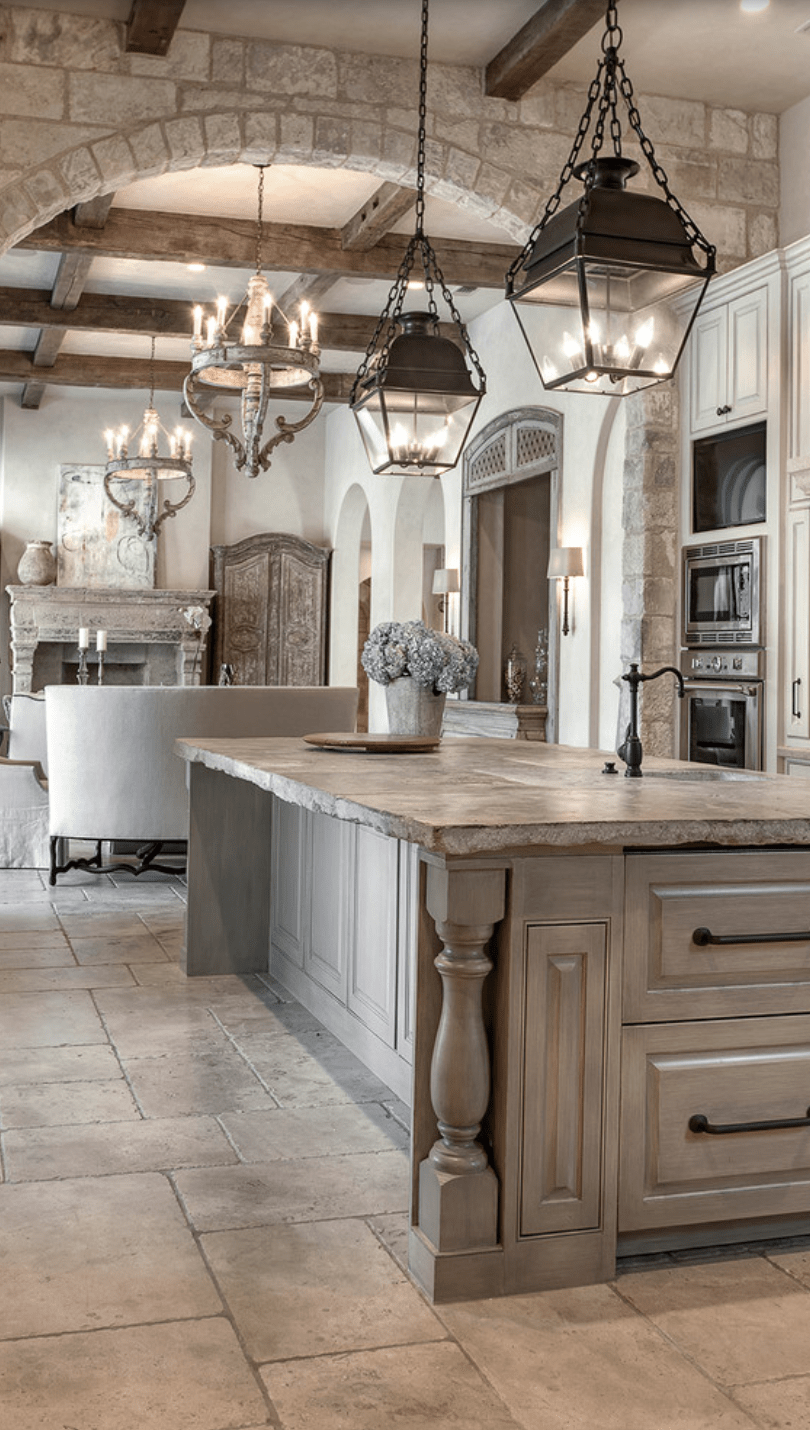 kitchen floor tiles Beautiful Kitchen the stone floor tiles washed cabinetry kitchen lights nice old world look Look closely to counter top island Very nice