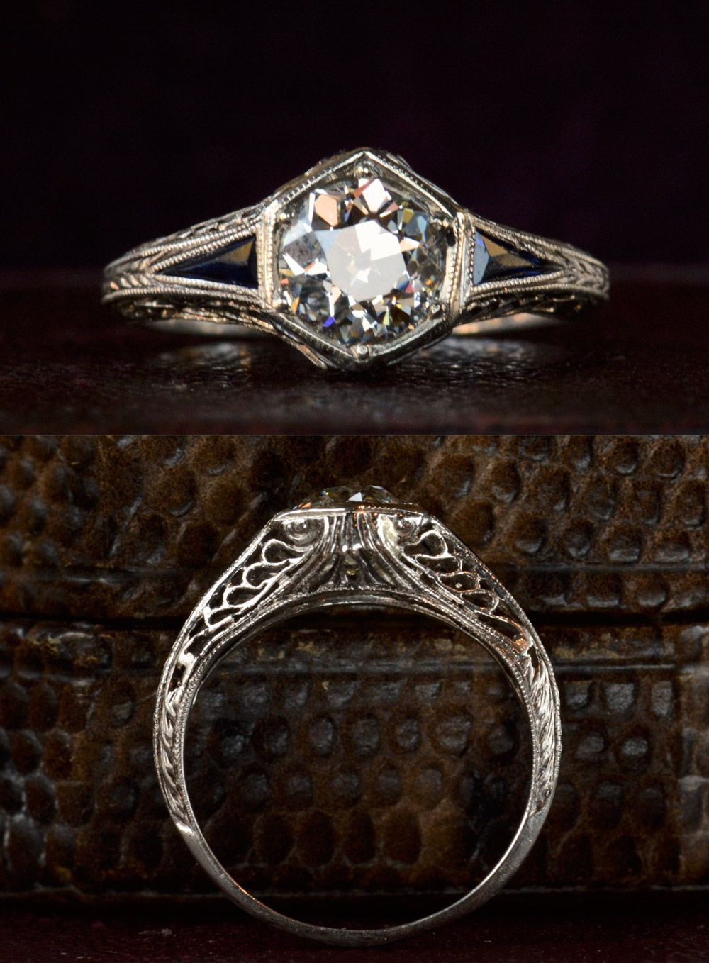 wedding rings online A vintage ring Art Deco Hexagonal Filigree Engagement Ring Old European Cut Diamond in the online shop