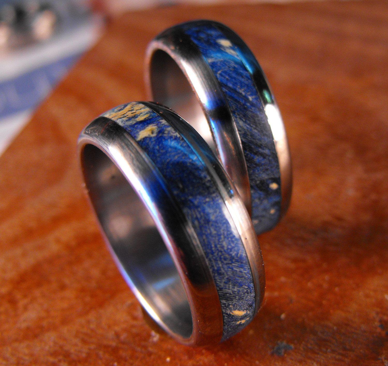blue wedding rings Titanium Rings Wedding Rings Wedding Ring Set His and Hers Rings Wood Rings Blue Rings Mens Ring Womens Ring Mens Wedding Ring