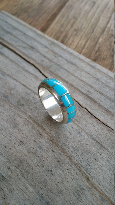 navajo wedding rings Zuni Turquoise ring sterling silver Tsadiase size 7 75 ring Navajo wedding band GB