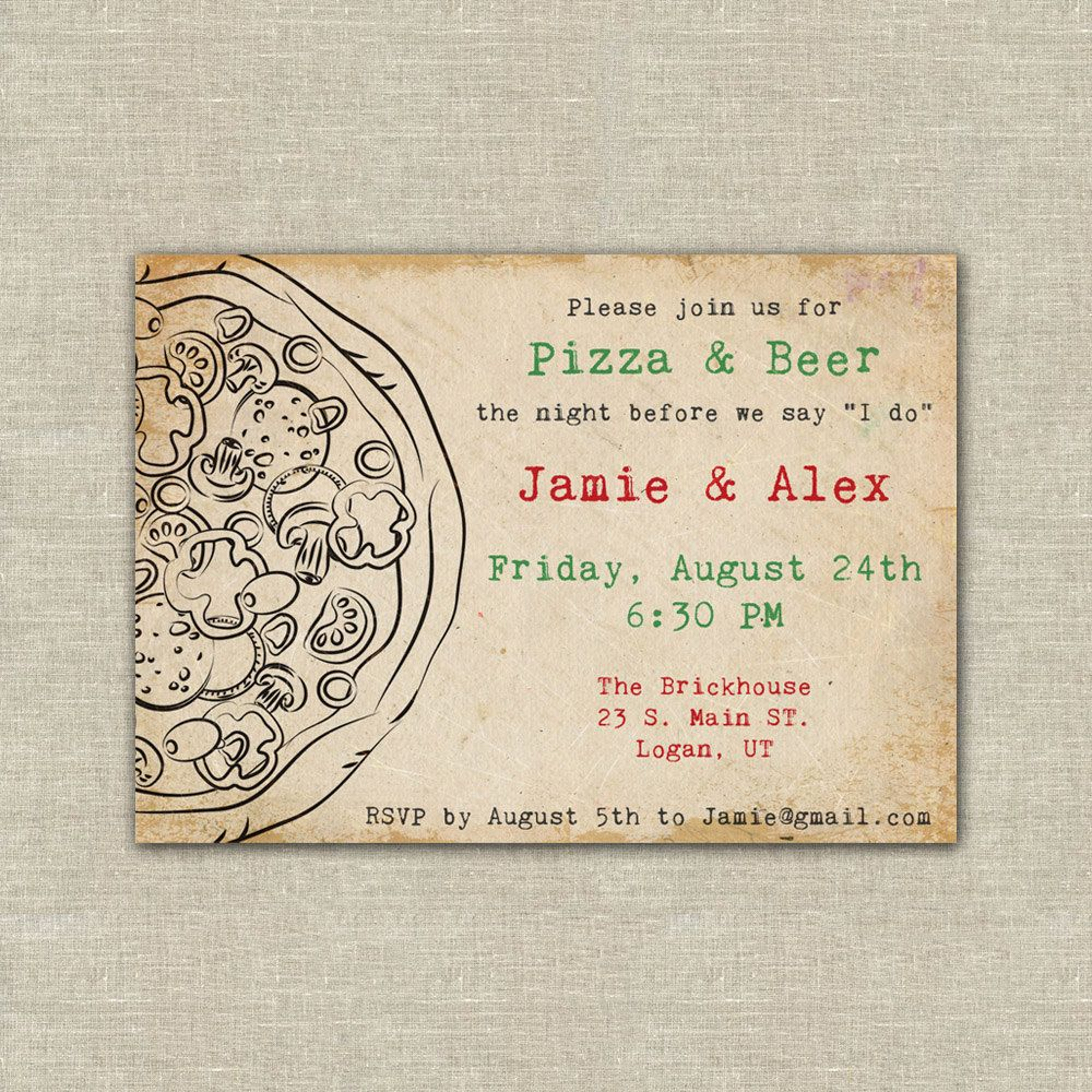 wedding rehearsal dinner invitations Digital File Pizza party pizza beer wedding rehearsal dinner invitations includes envelopes In the notes to sellers box at checkout