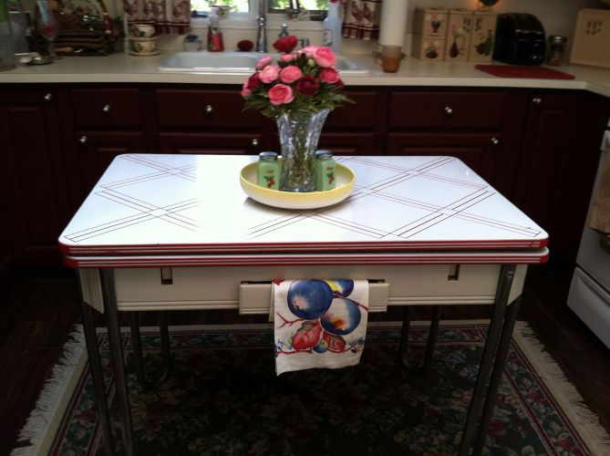 vintage enamel kitchen tables vintage kitchen tables Country inspired vintage kitchen with enamel table from the 40 s