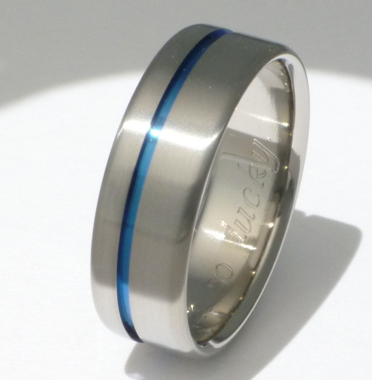 police wedding bands Blue Titanium Ring Thin Blue Line Titanium Band One Carved Blue Line b2
