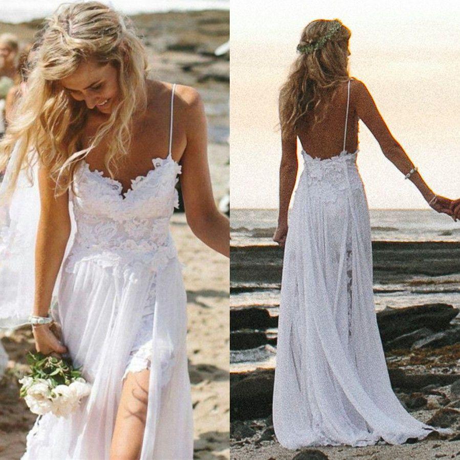 beach wedding dress Sexy Fancy Beach Wedding Dresses Spaghetti Backless White Ivory Lace Bridal Gown