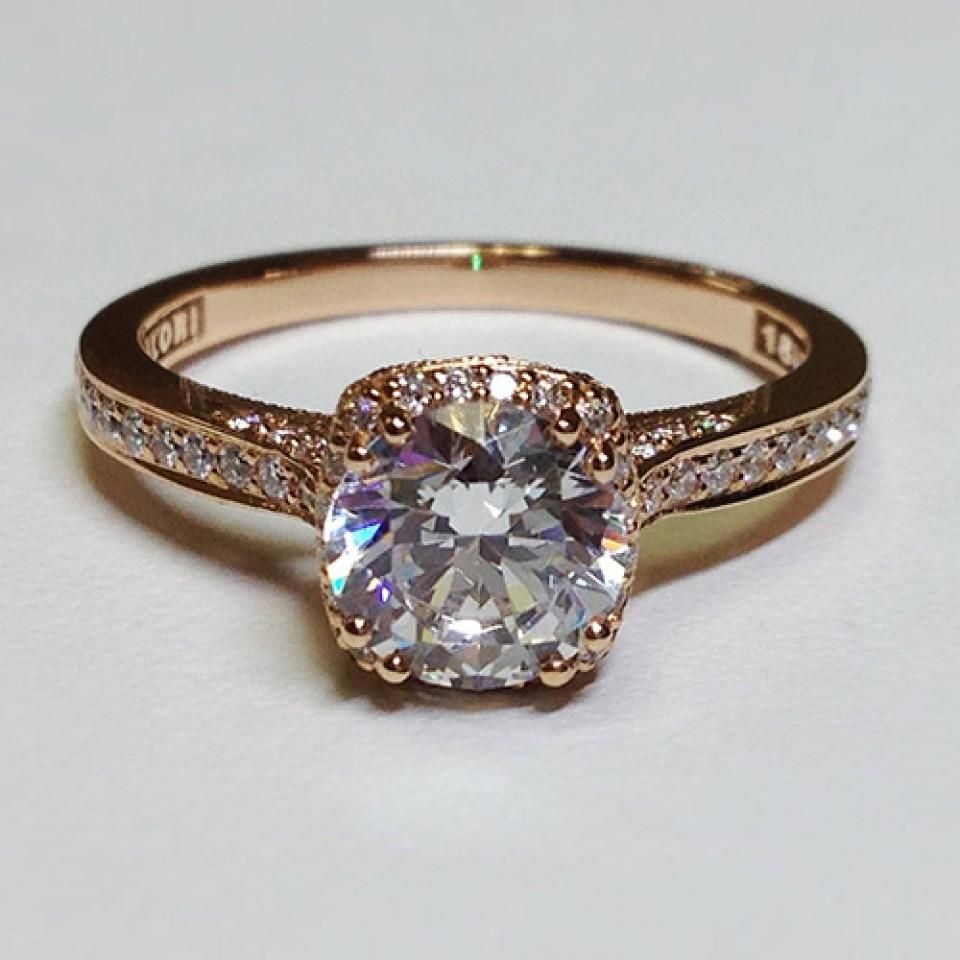 rose gold wedding rings Possibly a different shape diamond if not then just bigger so it pops next to the small diamonds tacori gold engagement ring I never wear silver anymore