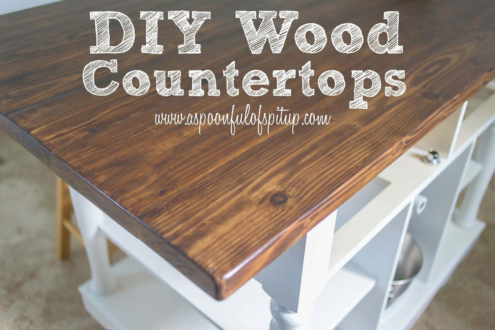 wood kitchen countertops A Spoonful of Spit Up DIY Wood Butcher Block Countertops