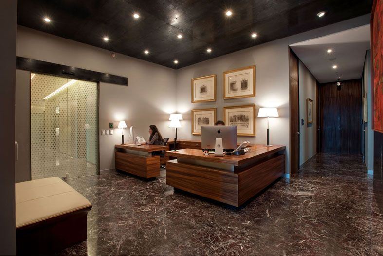 contemporary office design with wooden material in mexico city receptional de casas interior small l