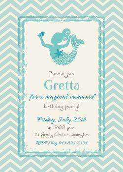 Small Of Mermaid Birthday Invitations
