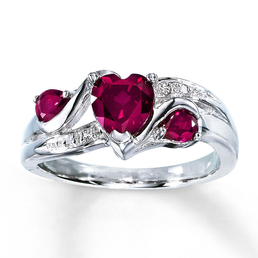 kay jewelers wedding bands Lab Created Ruby Ring Heart Cut with Diamonds Sterling Silver Kay Jewelers