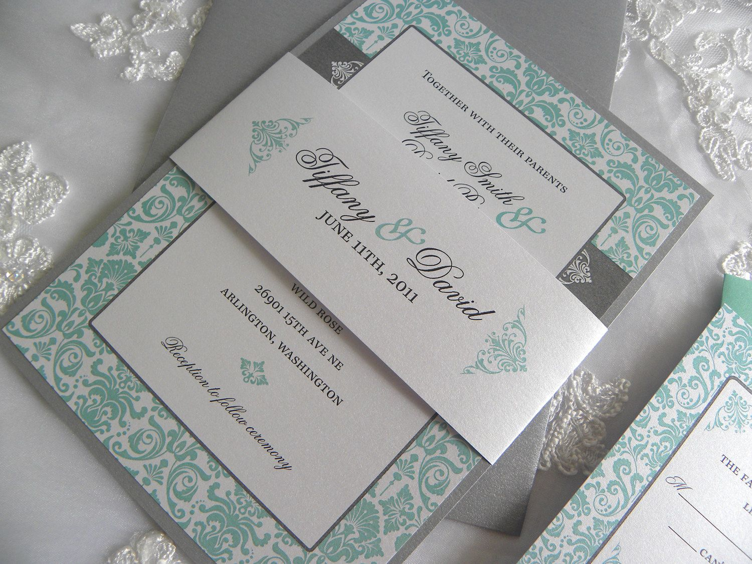 tiffany blue wedding invitations ivory tiffany blue gray invitation Aqua Tiffany Blue and Pewter Damask Wedding