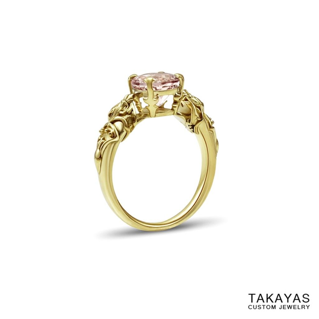 triforce wedding ring Custom 18K yellow gold and morganite FFXIV inspired engagement ring based on Queen Nanamo s crown designed