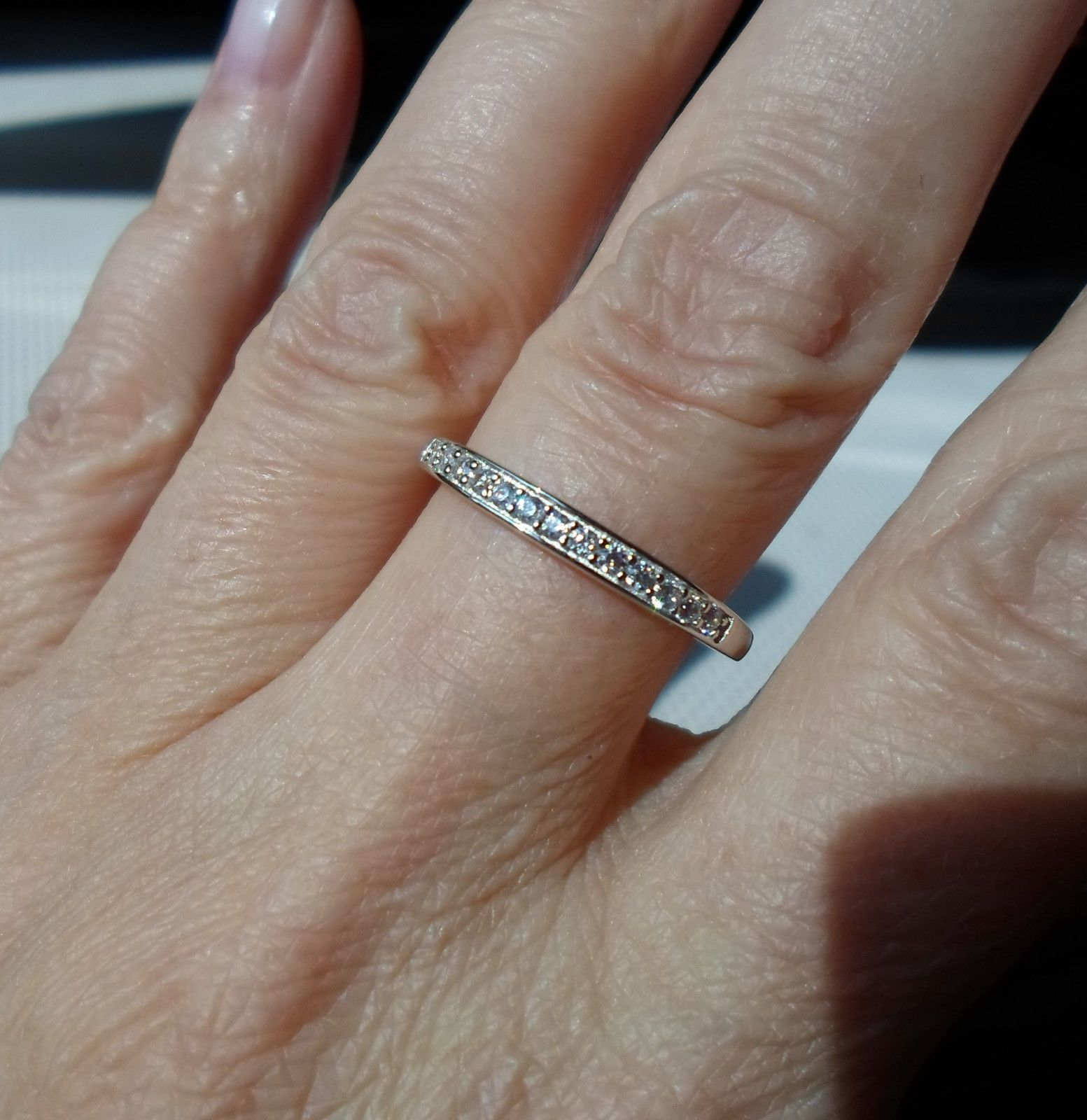 qvc wedding rings QVC Diamonique cz Silver Platinum clad Channel Stack Band Ring sz 7
