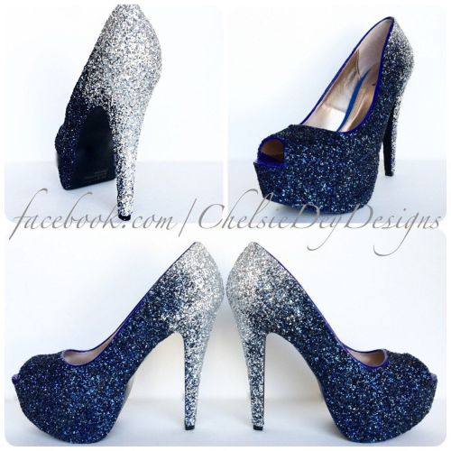 silver heels for wedding Glitter High Heels Silver Navy Blue Pumps Ombre Fade Glitter Peep Toe Heels Open Toe Shoes Something Blue Wedding Shoes
