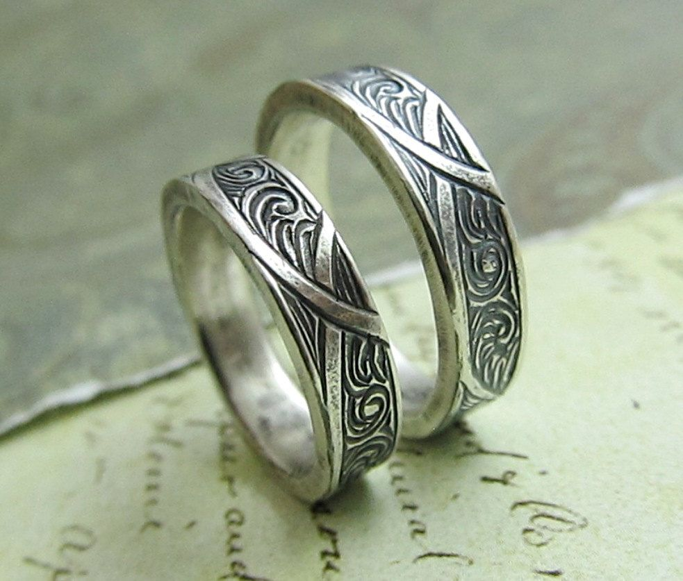 unique wedding band sets Waves and Arches Wedding Band Set Engraved 14k White Gold Rings His and Hers Celtic Scroll Ring by JC Metalsmith