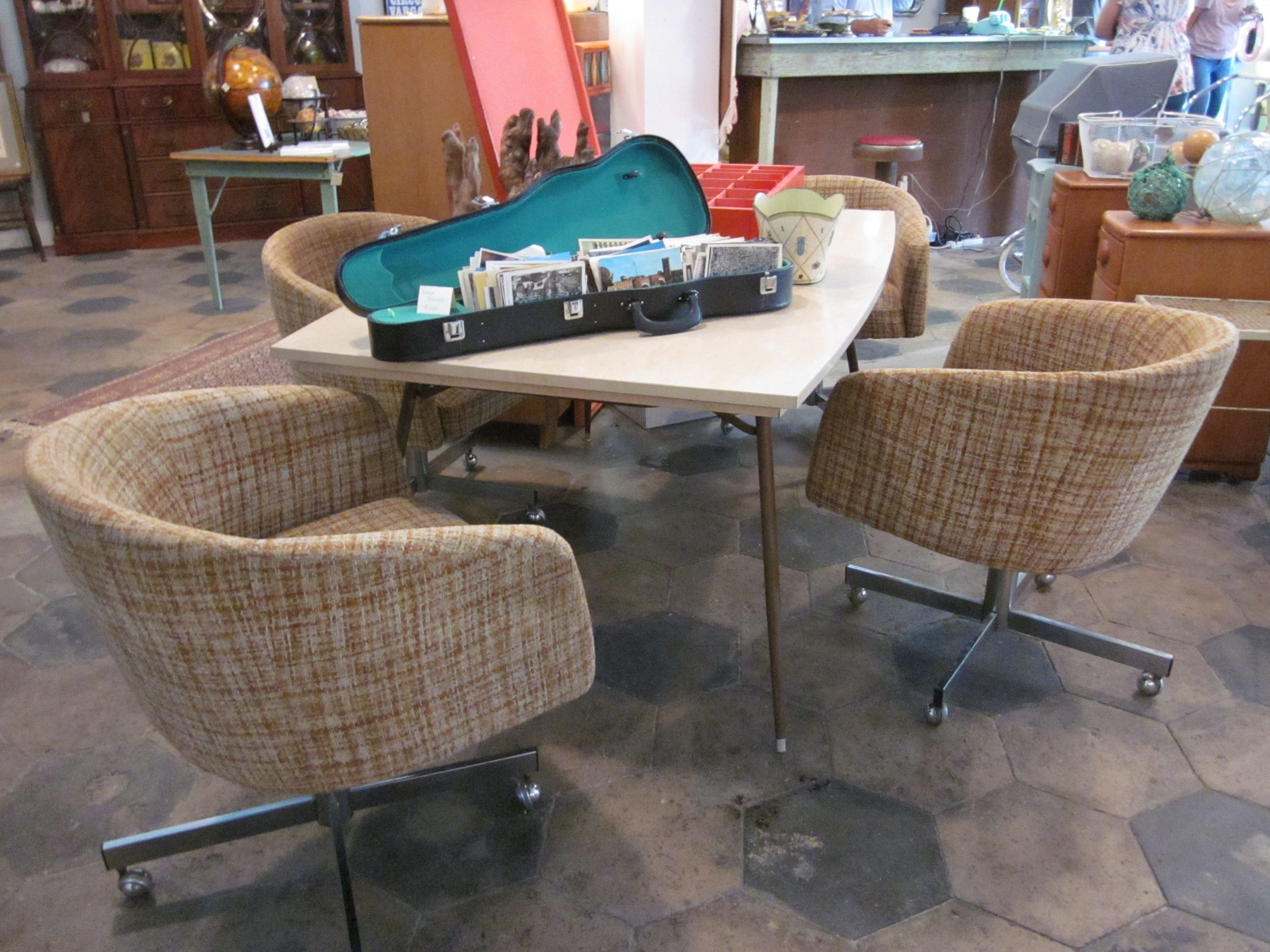 comfy dining room chairs kitchen chairs with wheels Mid century Dining Table with Funky Rolling Chairs SOLD The