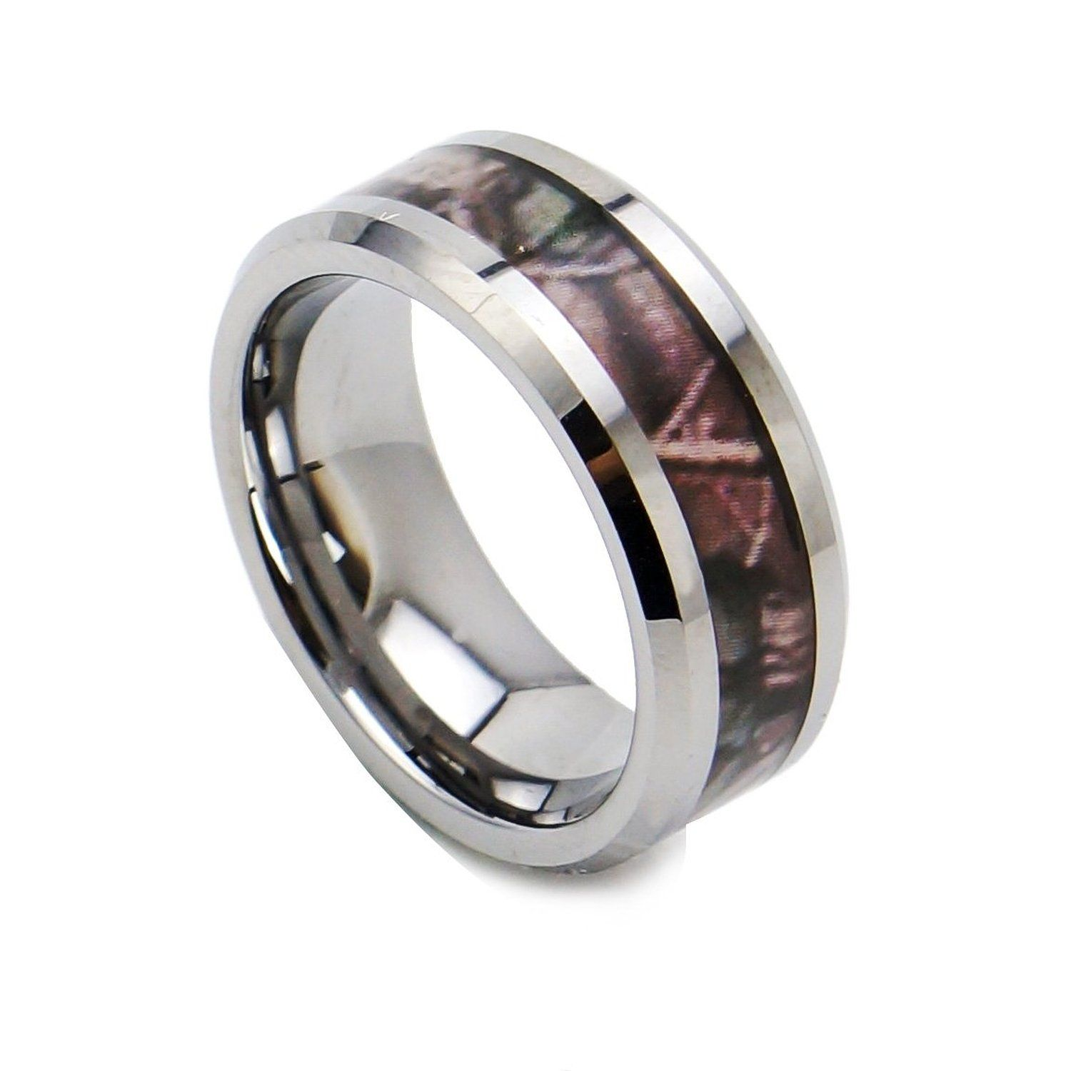 amazon wedding rings King Will 8mm Camouflage Tungsten Ring Black Camo Hunting Outdoor Mens Wedding Band High Polished