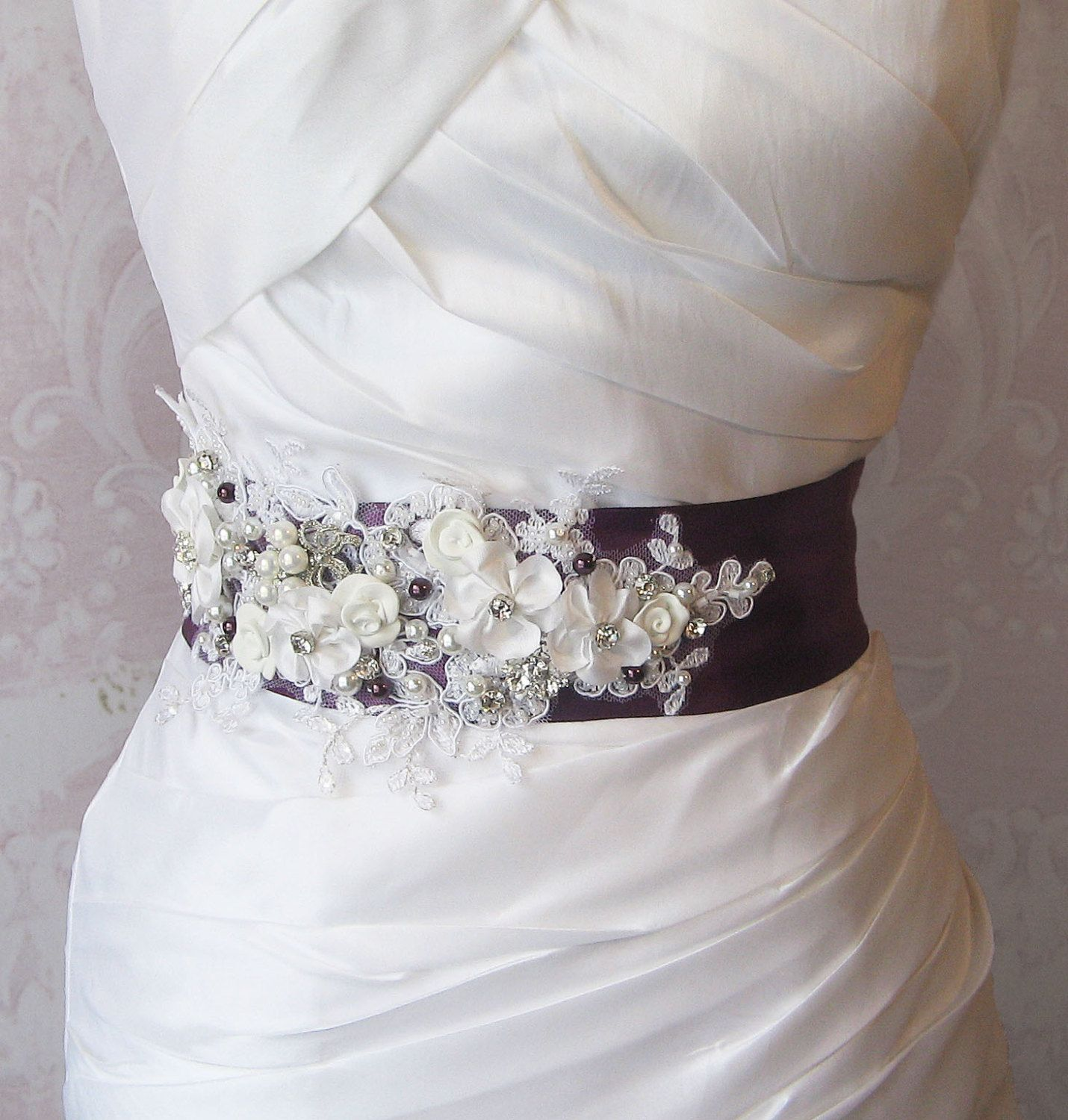 belts for wedding dresses Eggplant Purple Sash Deep Plum and White Bridal Sash Wedding Belt Rhinestone and