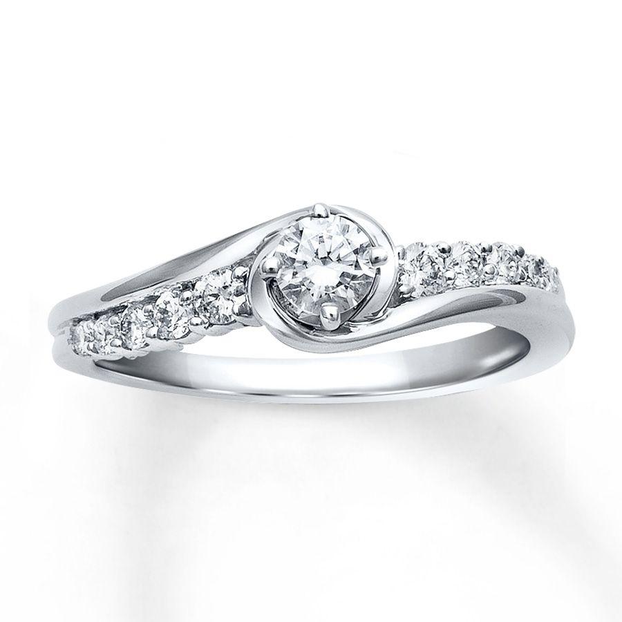 jareds wedding rings Diamond Engagement Ring 3 8 ct tw Round cut 10K White Gold Jareds 99