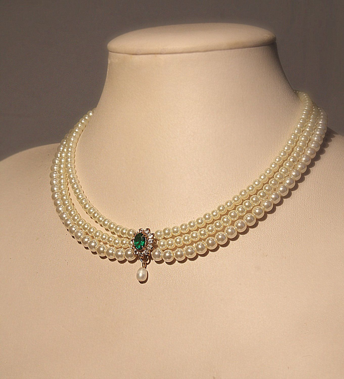 wedding necklaces Bridal Necklace Emerald Green Stone Vintage Bridal Pearls Necklace Statement Choker Pearl Wedding Choker Rhinestone Zirconium Pearls Strand