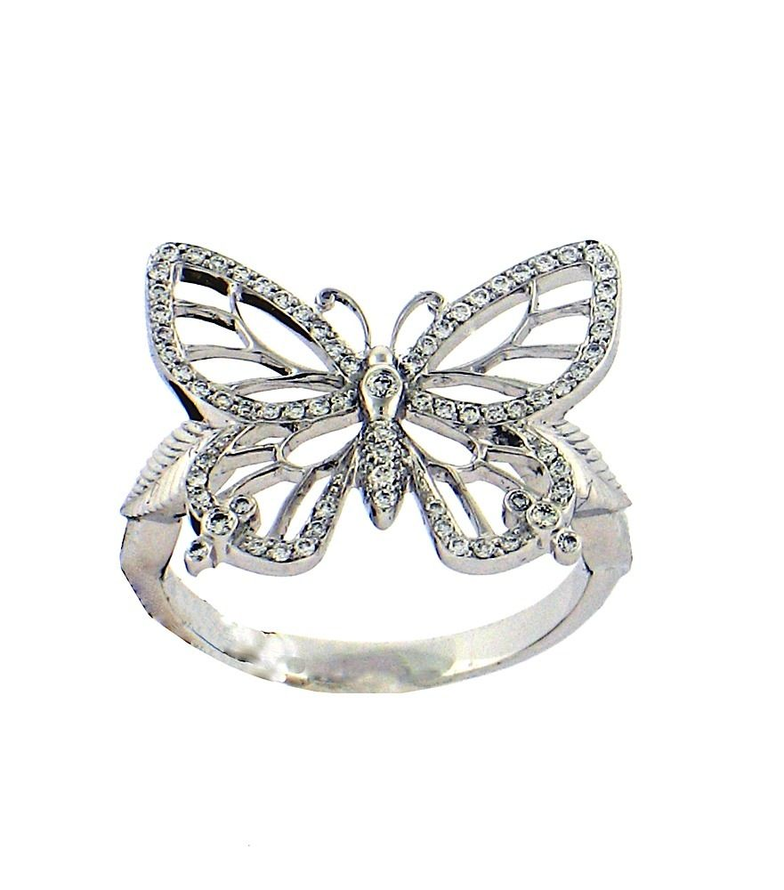 butterfly wedding rings Lacy Butterfly Ring in 18 Karat White Gold with Diamonds