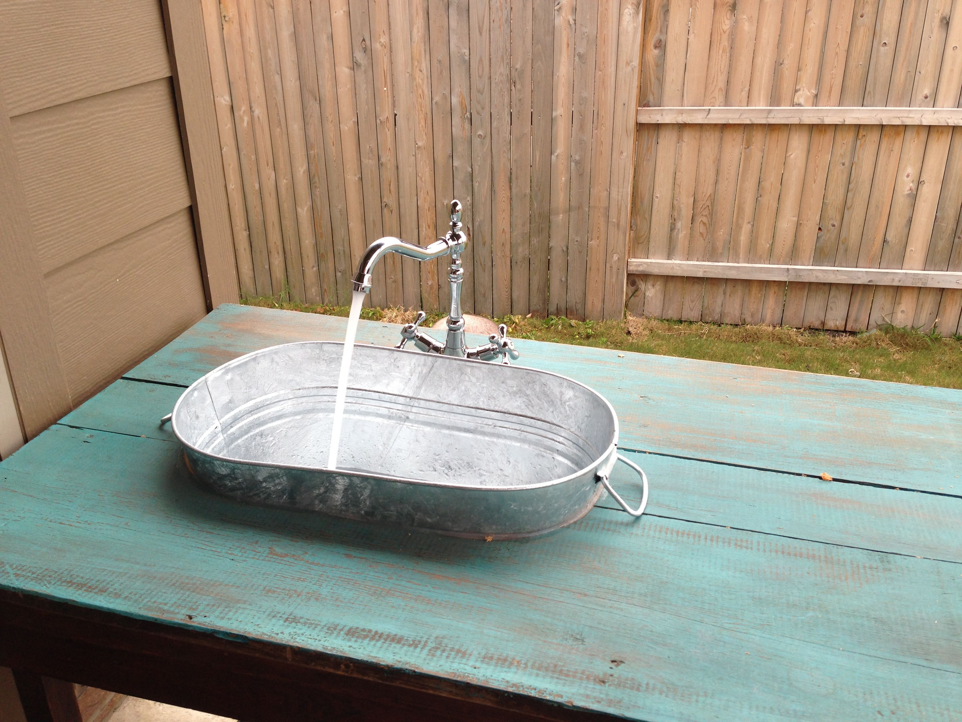 outdoor kitchen outdoor kitchen sink Now here s a great idea for an outdoor kitchen or garden Turn a wooden cable spool into a kitchen sink to make your outdoor dinners and gardening