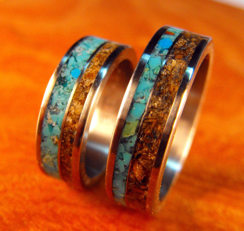 turquoise wedding bands Titanium Rings Wedding Rings Turquoise Rings Tigers Eye Rings Wedding Band Set His and Hers Rings Matching Ring Set Mens Wedding Ring