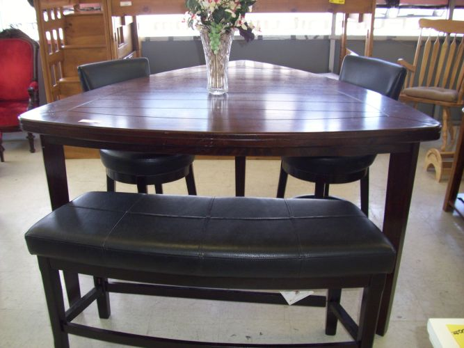 dining table kitchen table las vegas 4 Piece Triangle Pub Table SOLD Consignment Furniture Tulsa OK
