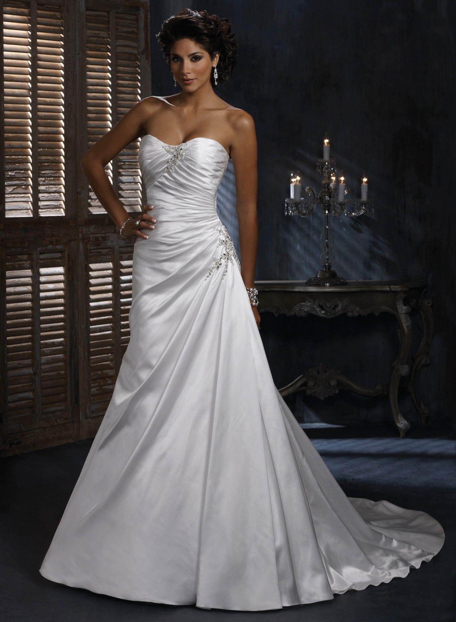 a line wedding dresses Satin A line Dipped Strapless Neckline Wedding Dress