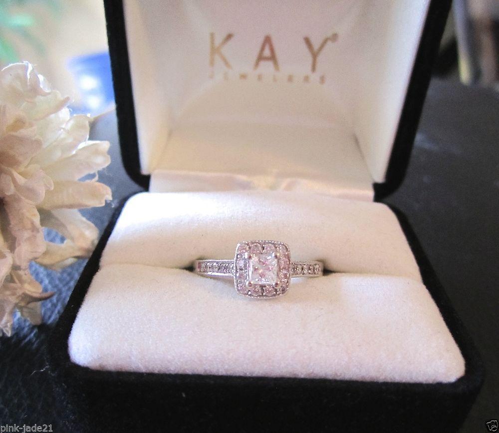 kay jewelers wedding bands KAY JEWELERS Engagement Wedding Halo Princess Cut Diamond Ring 14KT White Gold