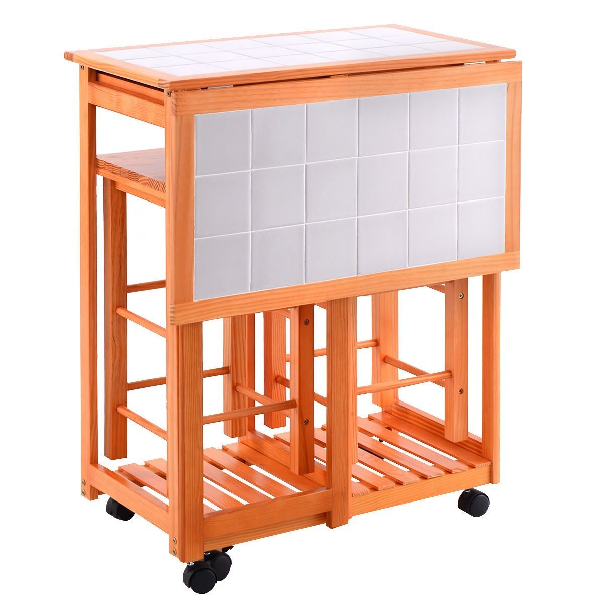 rolling kitchen chairs Rolling Kitchen Island Trolley Cart Drop Leaf Table w 2 Stools Home Breakfast Carts