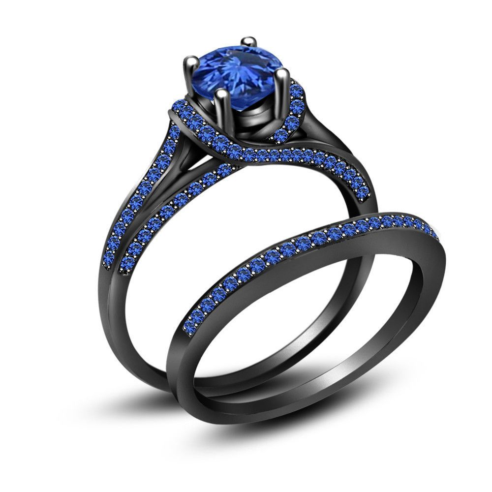 black wedding band sets 3 50 ct Blue Sapphire Full Black Sterling Silver Engagement Wedding Ring Set