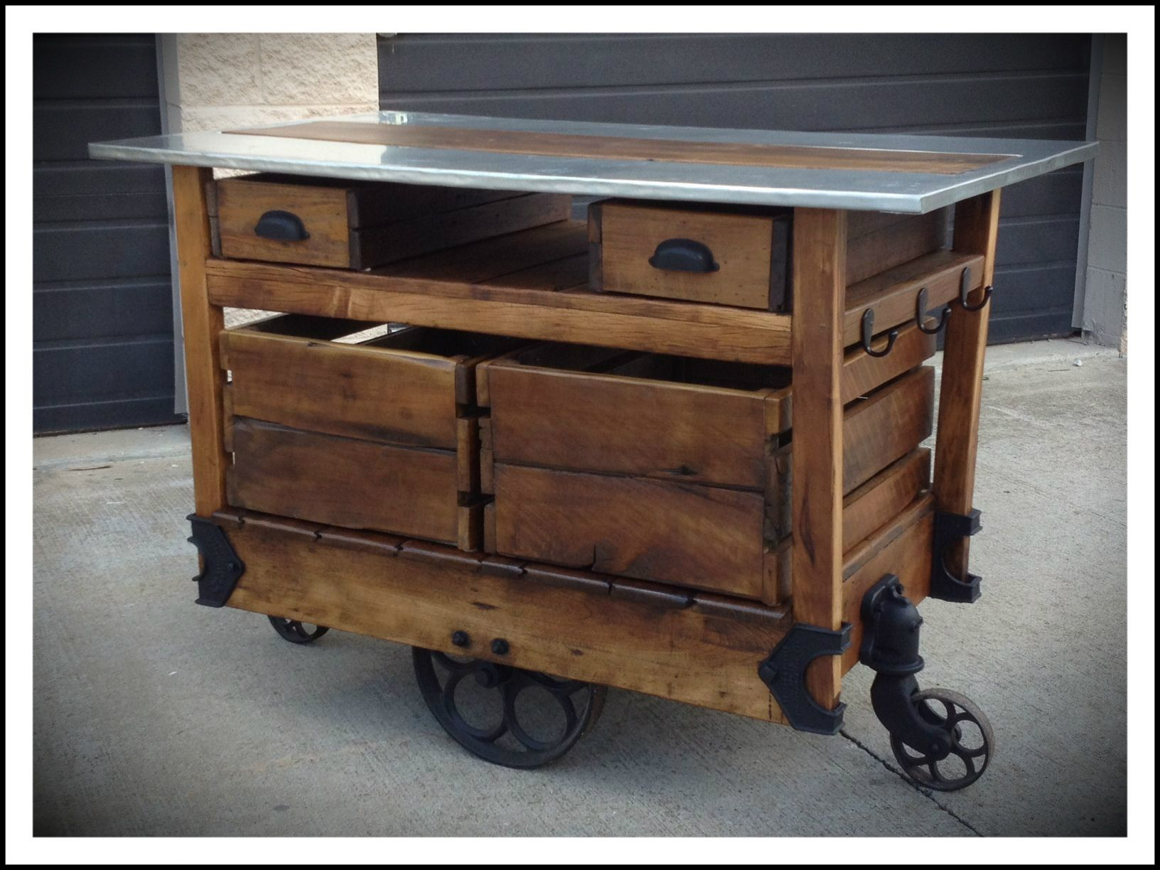 kitchen islands industrial kitchen table Kitchen Island made from antique cart Love it